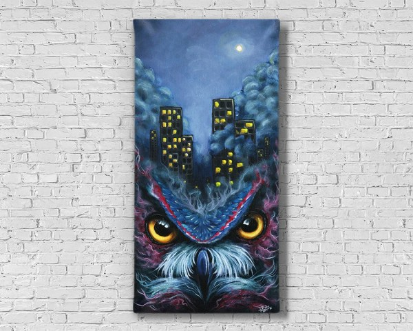 Owl Painting Art Dark Abstract Decor