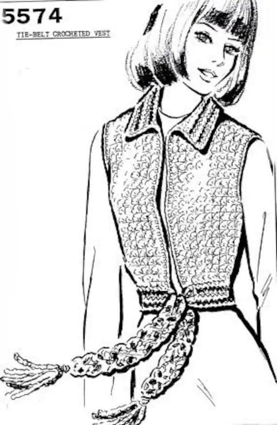 PDF Tie Belt Crochet Slip On Vest Short Sweater Pattern SML