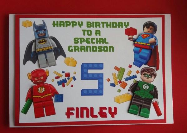 Large Personalised Lego Superhero Birthday Card