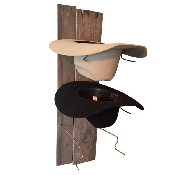 Cowboy Hat Rack Rustic Reclaimed Wood and Copper