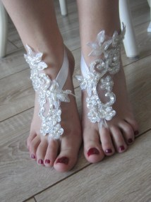 Ivory Lace Barefoot Sandals Beaded And Pearl Privatebrides
