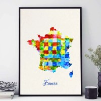 France Map Print French Map Poster France Wall Art