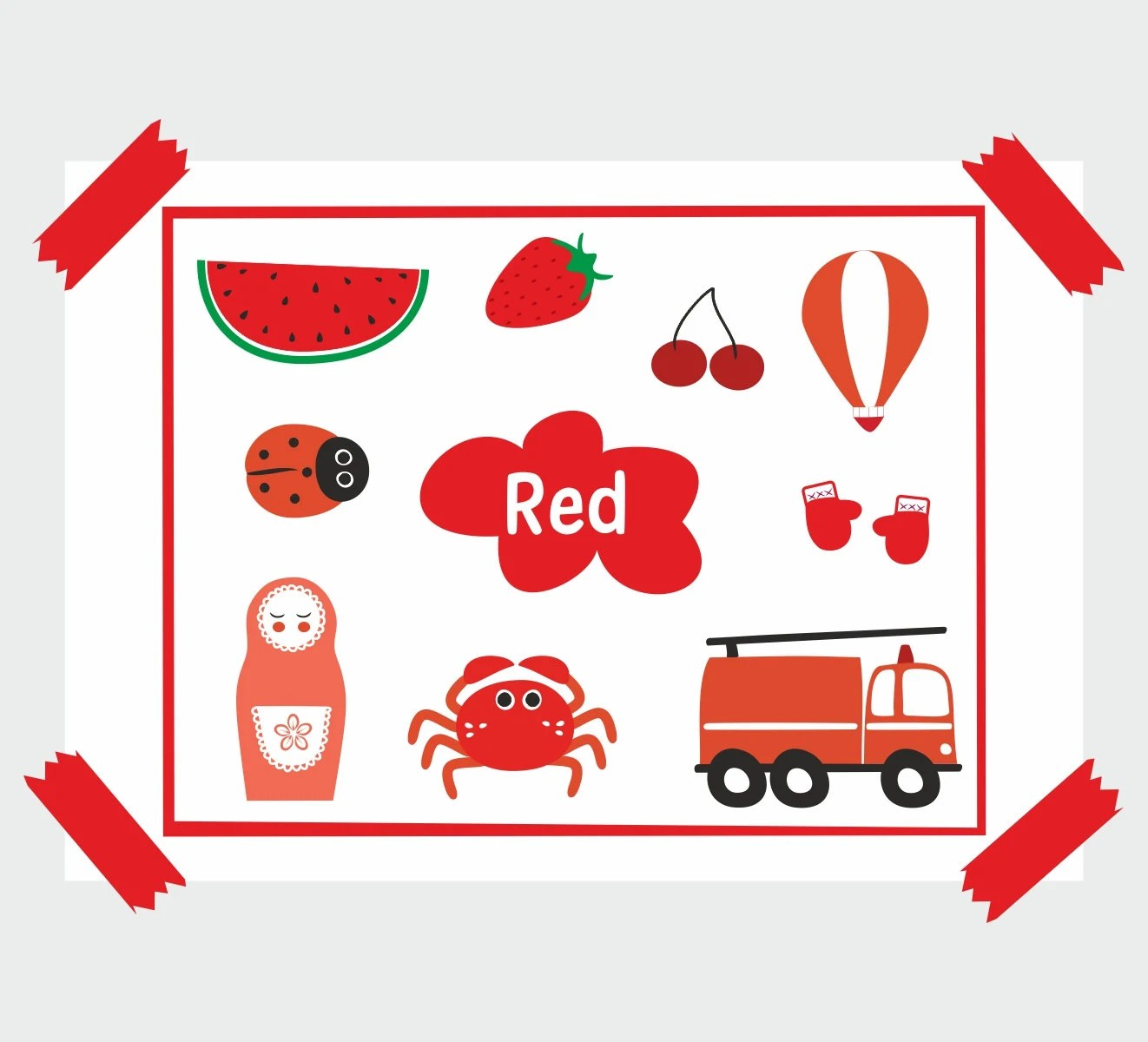 Red Color Learning Educational By Lovelyvioletdesigns On Etsy