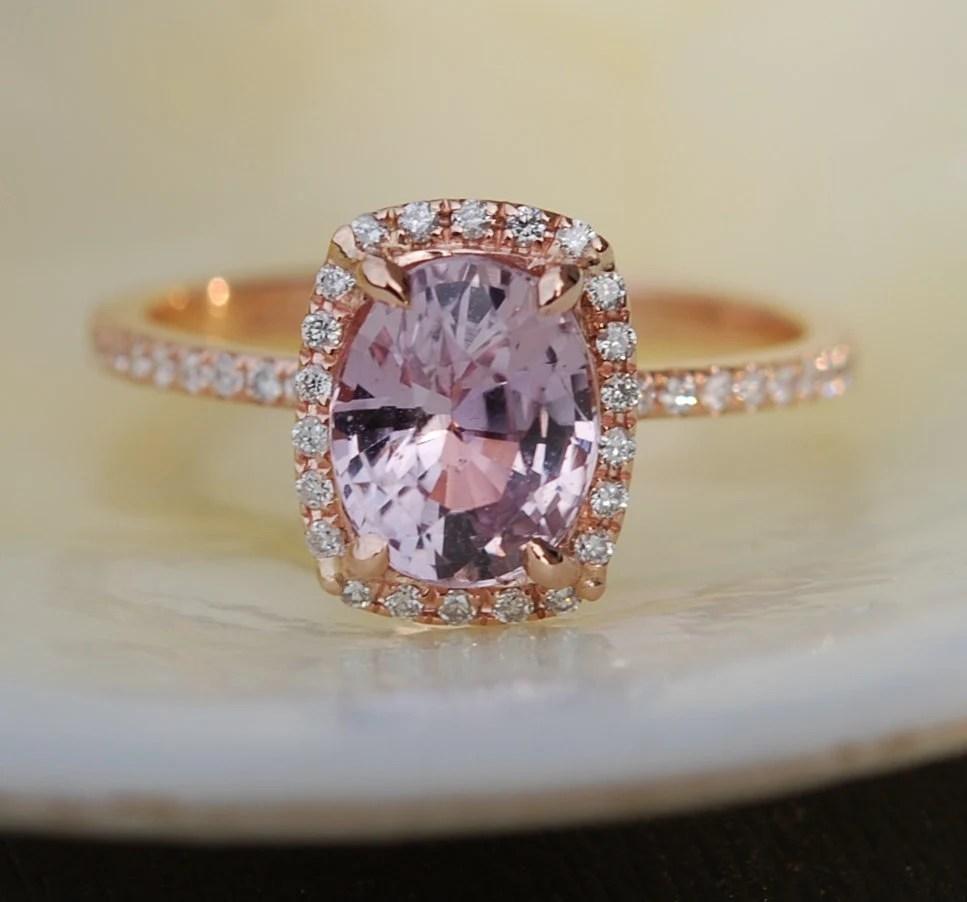 Rose Gold Sapphire Ring 183ct Mauve Sapphire Diamond Ring