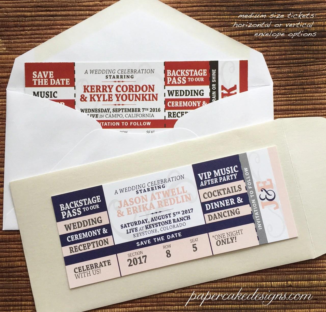 Concert Ticket Wedding Save The Date  Birthday  Shower