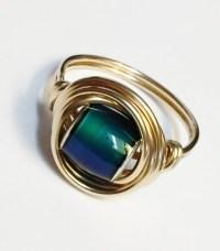 14K Gold Mood Ring Mood Bead Ring 14K Gold by SpiralsandSpice