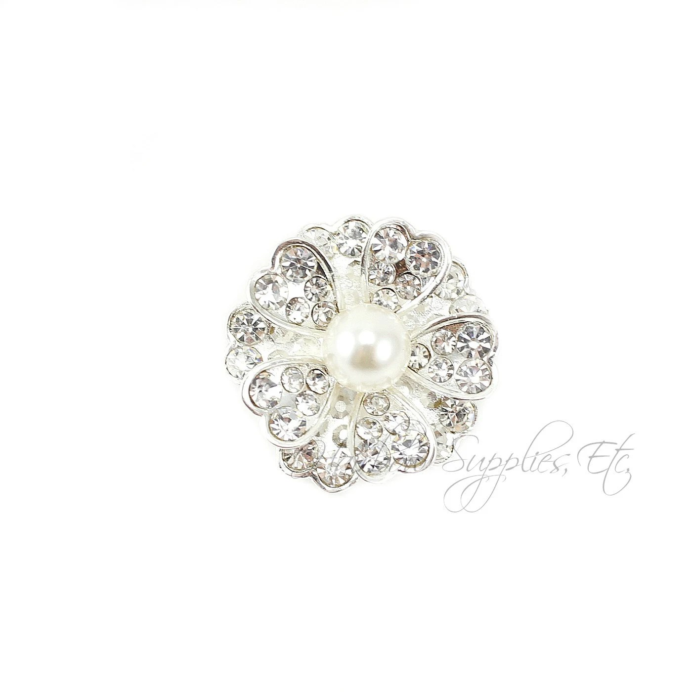 ashberg pearl rhinestone buttons 25 mm metal button silver