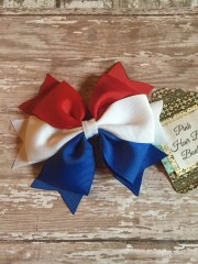 red white and blue hair bow 4th