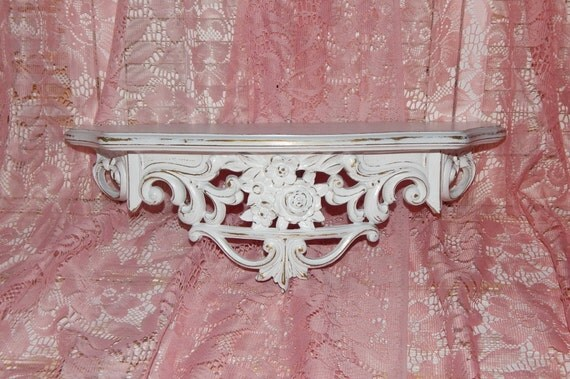 Ornate Bed Crown Shelf With Roses Vintage Homco Wall Decor