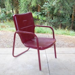Steel Chair For Hotel Patio Pad Replacements Beach Cottage Metal Lawn Garden Rustic Red 1930s
