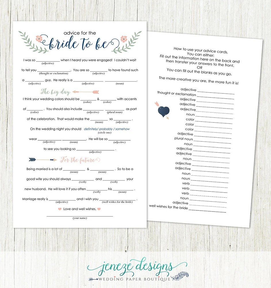 Bridal Shower Mad Libs Advice Printable Design Instant