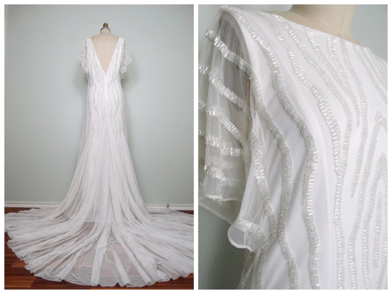 Heavily Beaded Wedding Gown / Iridescent White Glass Beaded