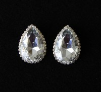 Large Tear Drop Stud Earrings Clear Rhinestone by BridalCloset