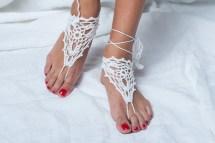 Barefoot Sandals White Sandal Wedding Beach Party Crochet Foot