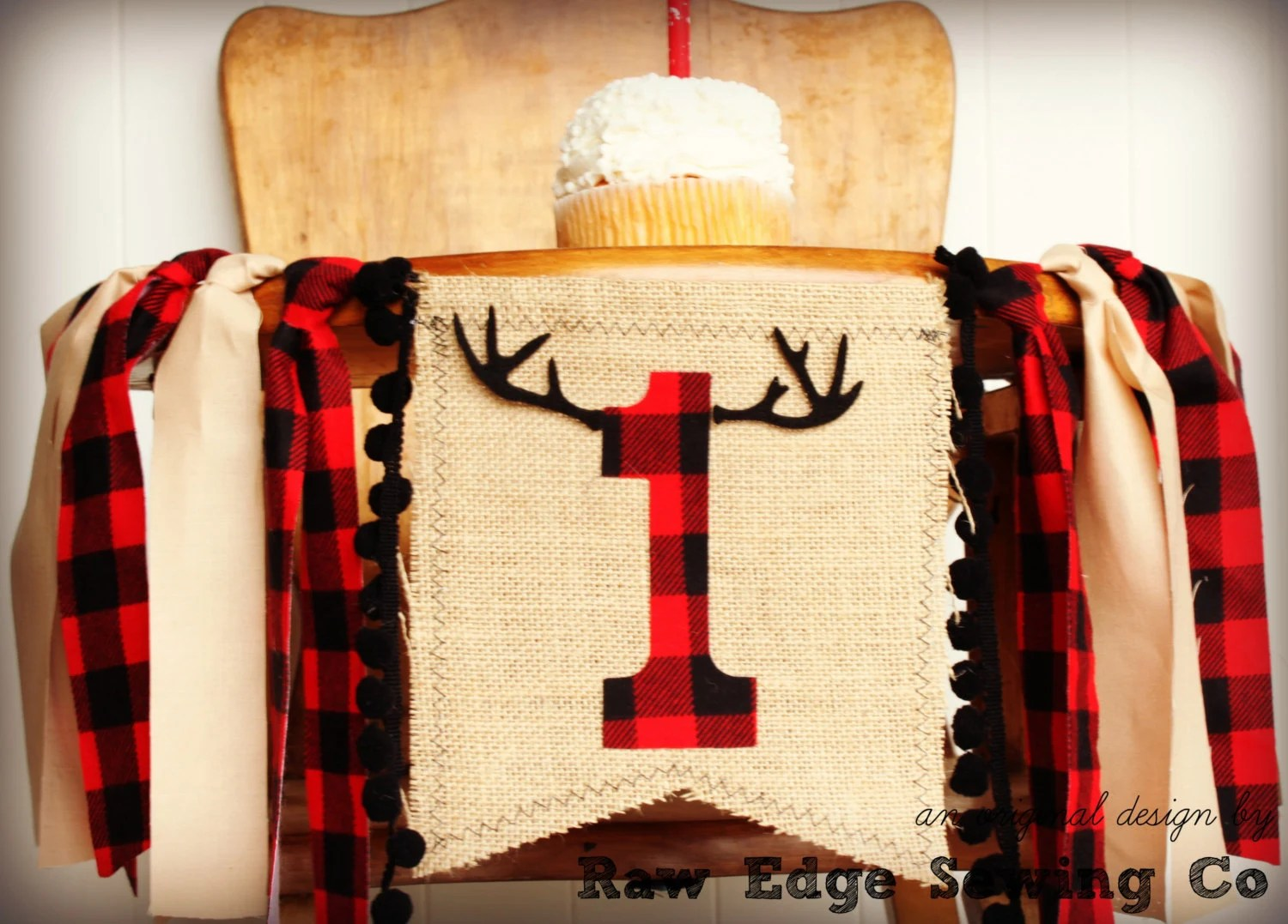 high chair toys r us living room chairs for small spaces deer buffalo plaid highchair birthday banner
