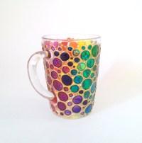 Bubbles Coffee Mug Rainbow Sun catcher Hand painted by ...
