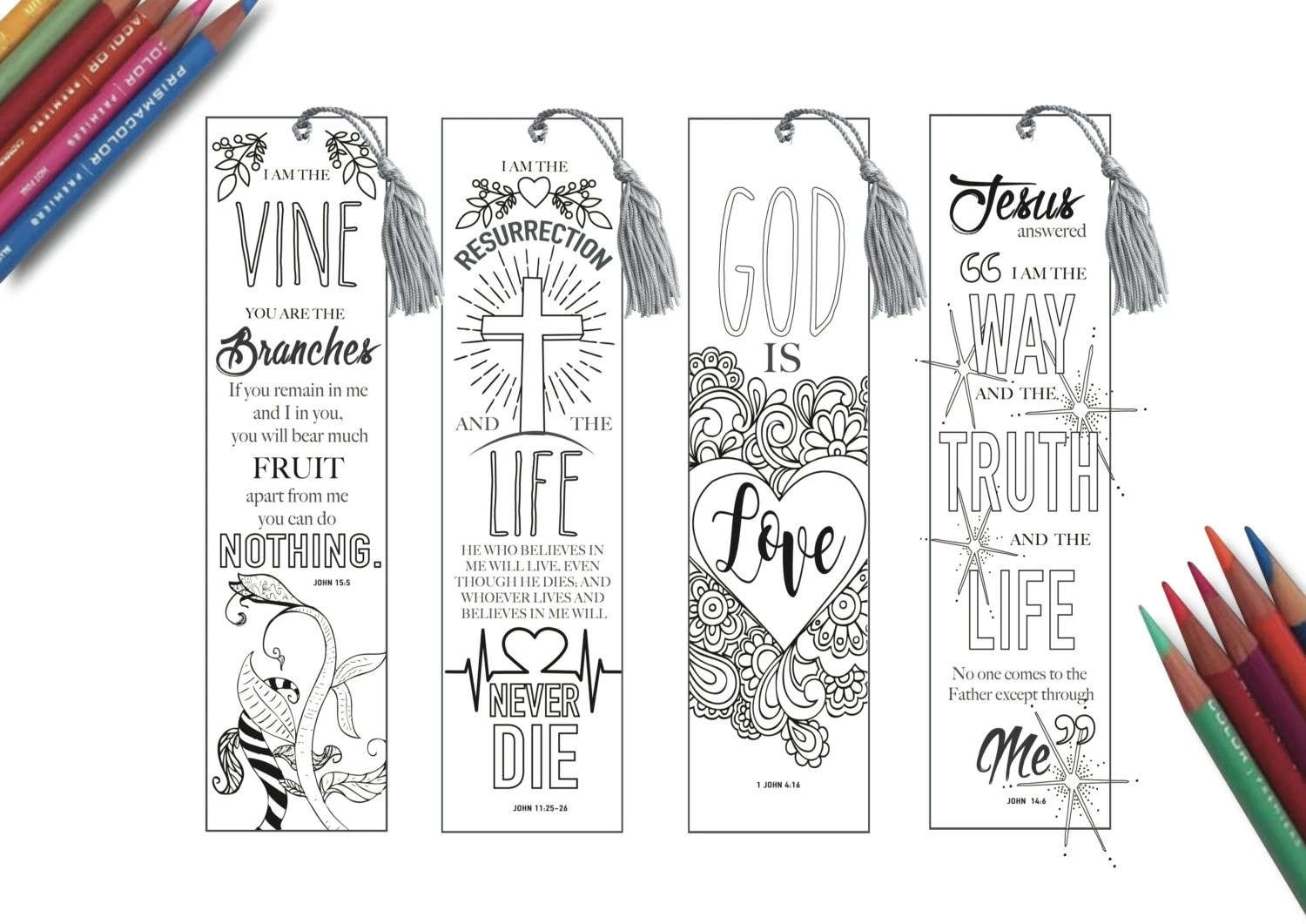 Coloring in Bible Bookmarks Bible Journaling PRINTABLE