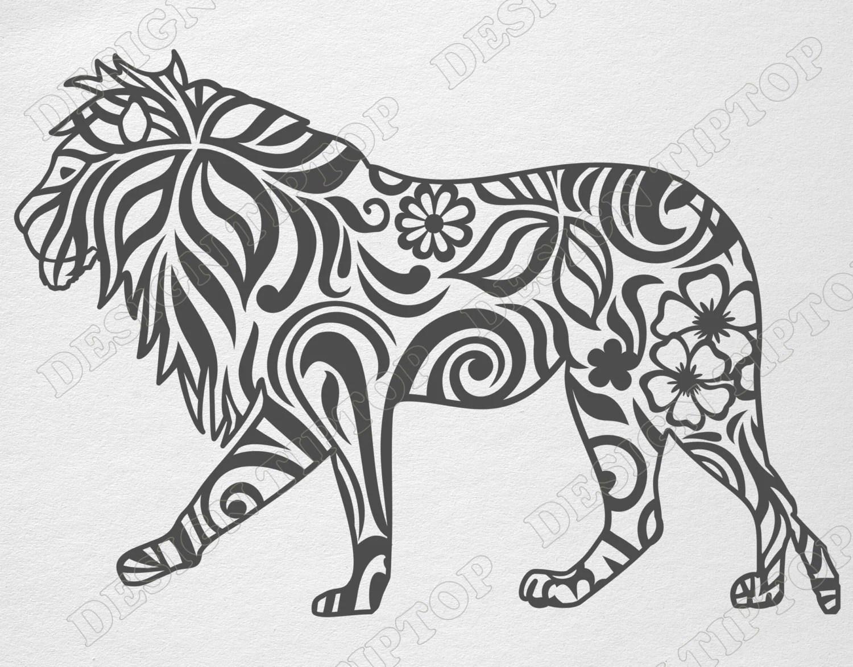 Lion SVG cut file cricut lion stencil Zentangle design