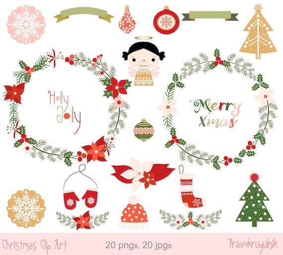 merry christmas wreath clipart