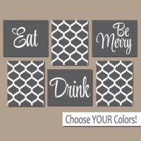 EAT DRINK be Merry CANVAS or Prints Gray Kitchen Wall Art