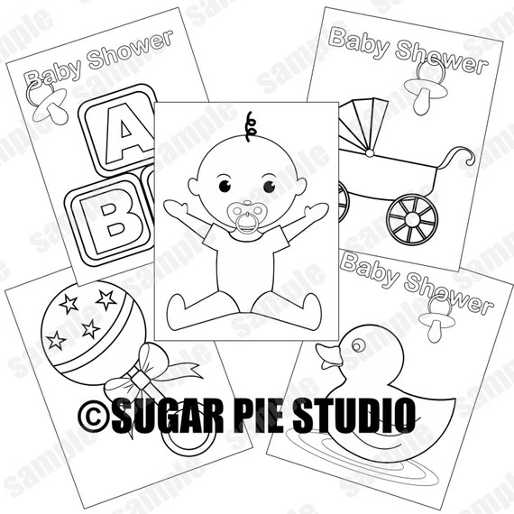 baby shower coloring pages neutral baby boy party favor kids
