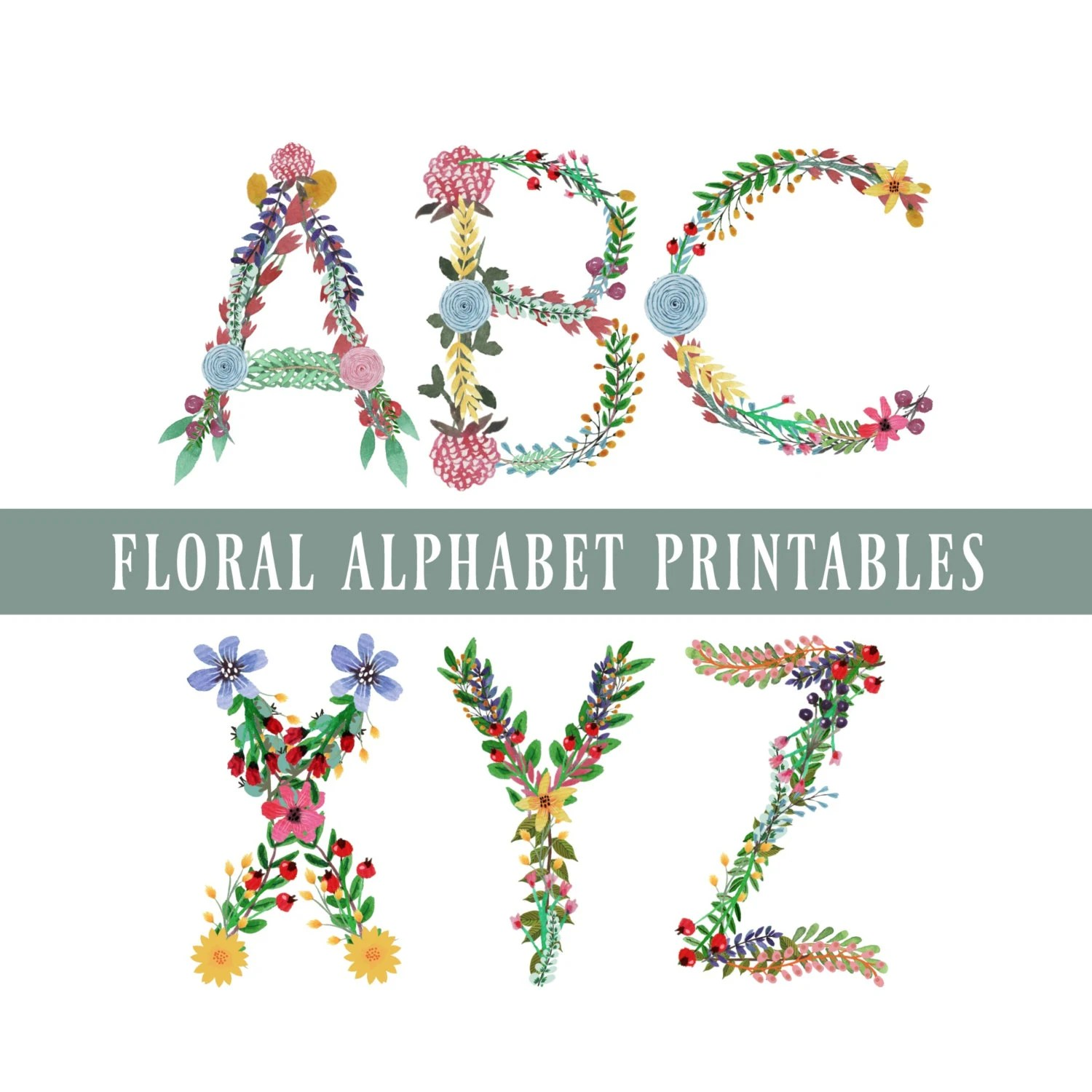 Floral Alphabet Amp Numbers Printables Letters A To Z 0 To 9 Punctuation Use For Diy Wall Art