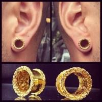 Gold Playa Ear Tunnels Ear Plugs Ear Gauges Flesh Tunnels
