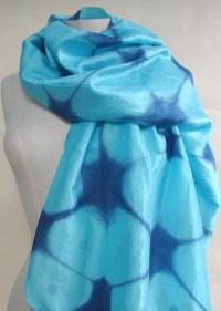 Silk scarf indigo shibori scarf Japanese indigo scarf hand