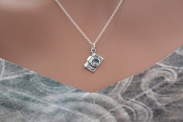 Sterling Silver Camera Charm Necklace