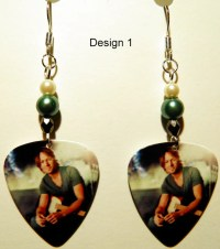 KEITH URBAN 1-4 Guitar Pick Beaded Earrings Handmade in USA
