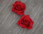 pair wedding flower hair clips-real