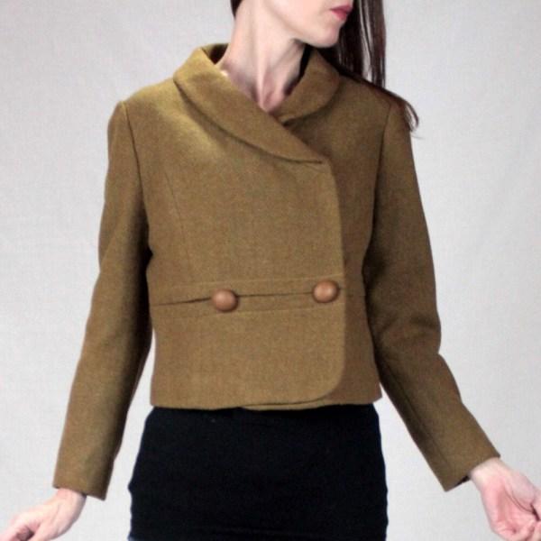 Vintage Tweed Cropped Jacket 1940s Blazer Women Brown Wool