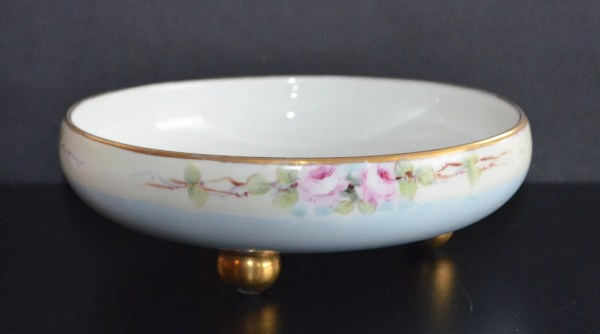 Antique Limoges Porcelain Footed Bowl T& Roses Decorated Dish