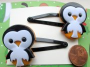 penguin barrettes-winter hair clips-holiday