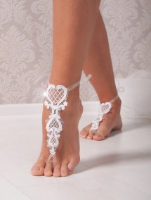 Lace Barefoot Sandals Bridal Footless Flip