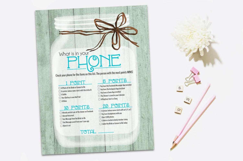 Printable Bridal Shower Game Rustic Bridal Shower Game