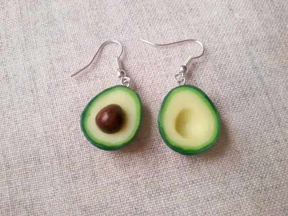Solid Silver Avocado Earrings miniature food jewelry food