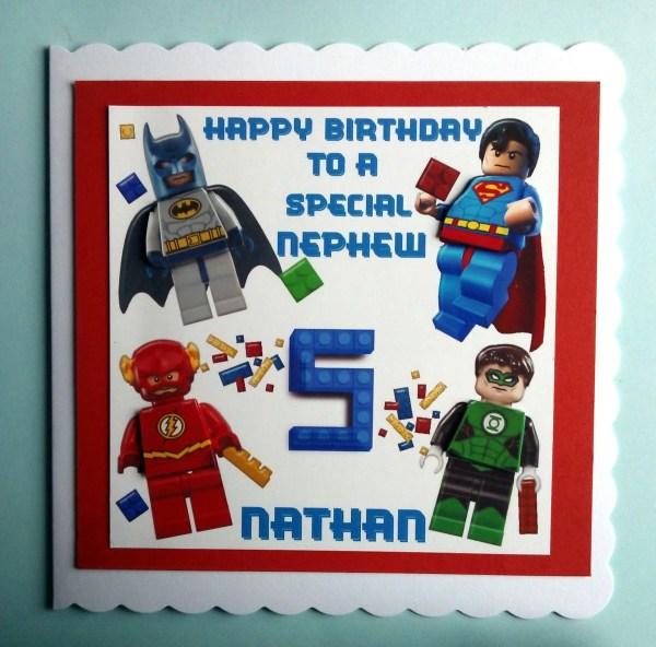 Large Personalised Lego Superhero Birthday Card by