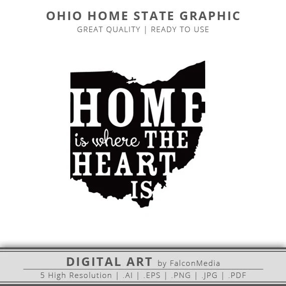 Ohio Home Is Where the Heart Is Graphic Ohio Silhouette
