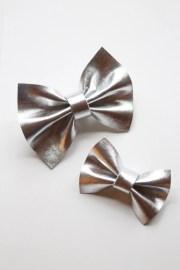 metallic silver faux leather hair