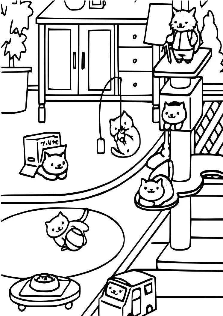 Neko Atsume. Coloring Page. Cat Lover. Instant Download