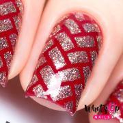 herringbone stencils nails