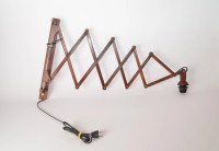 Large wooden teak midcentury scissor lamp Danish style 1960s