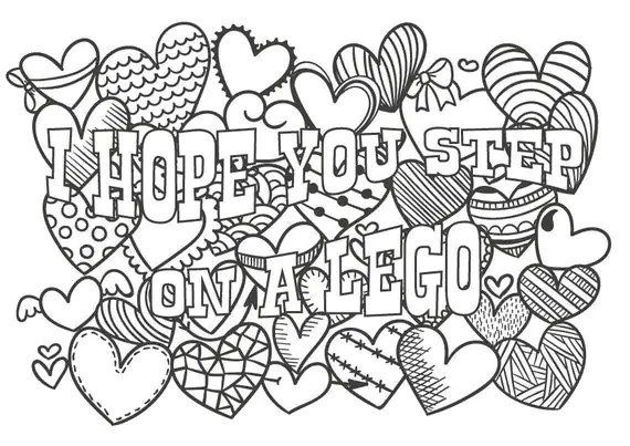 Cute insult calming coloring page with ornaments. Sweary word