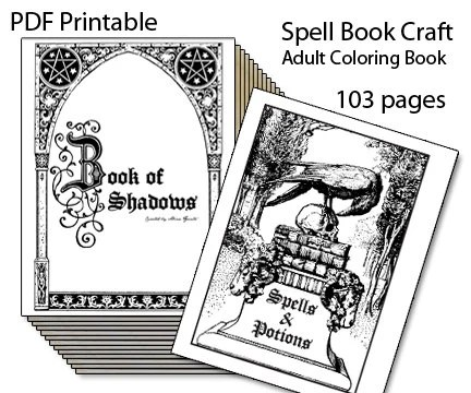 Book of Shadows Printable Spell Book Adult Coloring Book