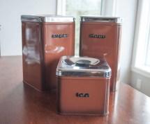 Vintage Mid Century Mod Brown Tin Kitchen Canister Set