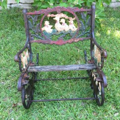 Wrought Iron Rocking Chair Toddler Beach Chairs Cast Antique