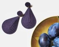 Big purple earrings Statement earrings Clip on dangle