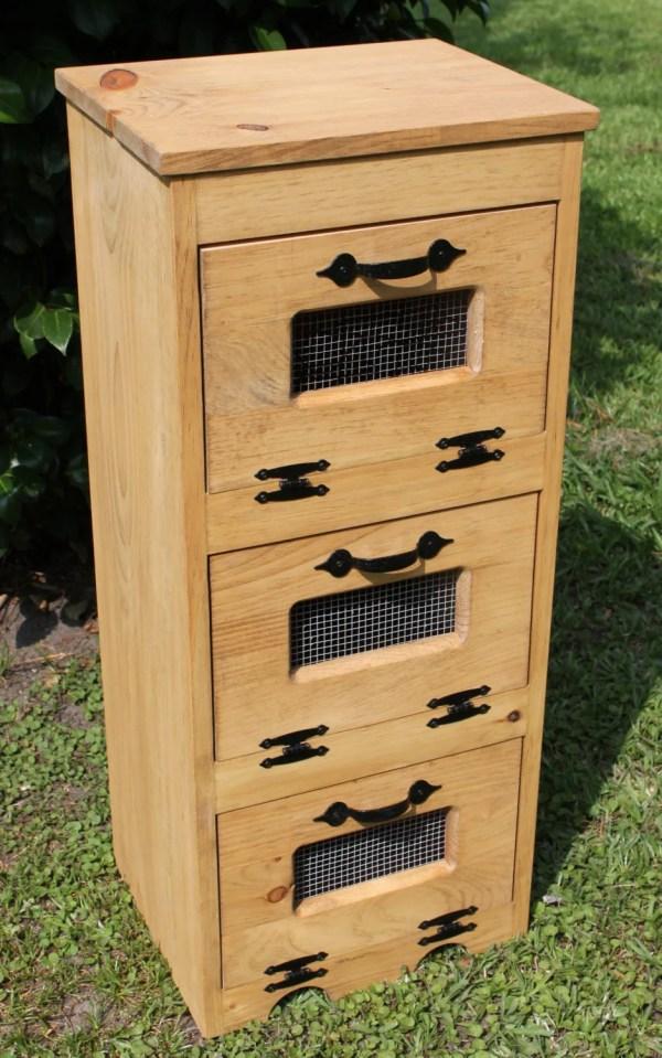 Wood Vegetable Bin Potato Storage Rustic Cupboard Primitive