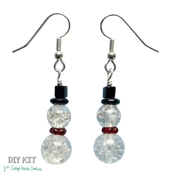 Glass Snowman DIY Earring Jewelry Making Bead Kit with